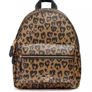 Coach Mini Charlie Wild Hearts Cheetah Backpack